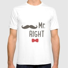 Mr right Mens Fitted Tee White MEDIUM