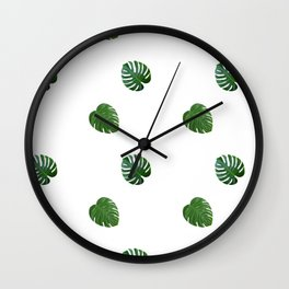 Monstera Plant Pattern Wall Clock