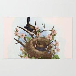 Vintage Birds with Nest Pink Rug