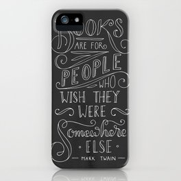 Mark Twain Quote (White text) iPhone Case