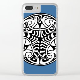 Celtic Art - Interlaced Birds - on Blue Clear iPhone Case