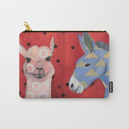 Pink Alpaca and Donkey Carry-All Pouch