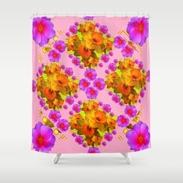 Pink Coral Cerise Roses & Daffodils Floral Shower Curtain