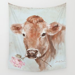 Cow with Rose by Debi Coules Wall Tapestry