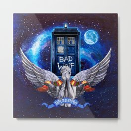 The Angel with Tardis Metal Print