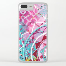 Pink and Turquoise Mixed Media Mandala Clear iPhone Case