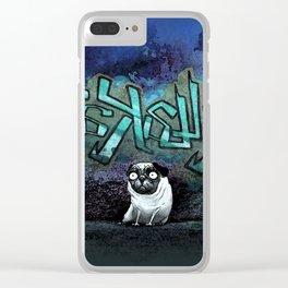 Graffiti Pug Clear iPhone Case
