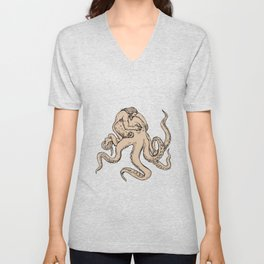 Hercules Fighting Giant Octopus Drawing Unisex V-Neck