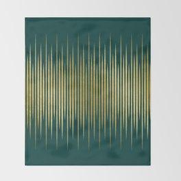 Linear Gold & Emerald Throw Blanket