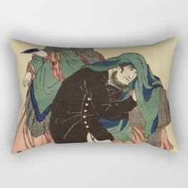 French Photographer in Old Yokohama by Utagawa Yoshikazu (1848-1863) a traditional Japanese  of a Fr Rectangular Pillow