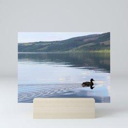 Duck gliding on Loch Ness Mini Art Print