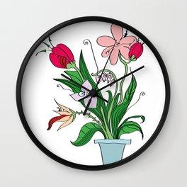 Predatory flowers Wall Clock