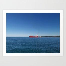 posea, cargo ship, blue sky Art Print