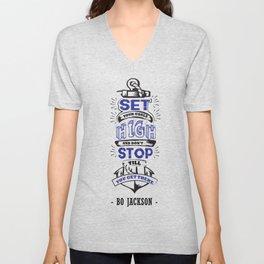 Set your goals high Bo Jackson Inspirational Sports Typographic Quote Art Unisex V-Neck