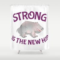 fitness Shower Curtains featuring Hippo Fitness by mailboxdisco