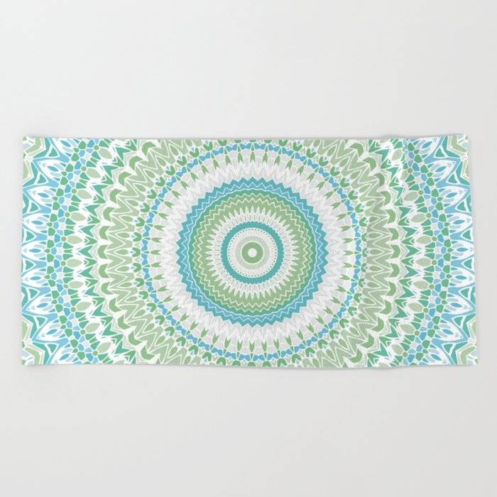 Sea Glass Mandala Beach Towel