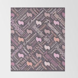 Pomeranian Word Art Throw Blanket