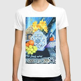 Blue Teapot and Lace Oil Painting Still Life T-shirt