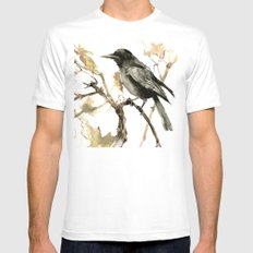 Crow in the Fall Mens Fitted Tee White MEDIUM