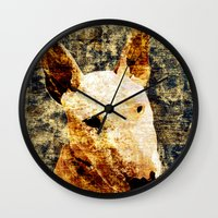 bull terrier Wall Clocks featuring 「sit」 Bull Terrier by BOW TOKYO