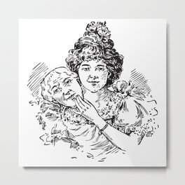 TWO FACED WOMAN Abstract Art Metal Print