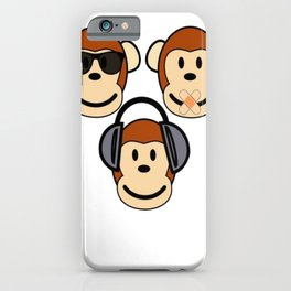 Illustration of Cartoon Three Monkeys - See, Hear, Speak No Evil iPhone Case