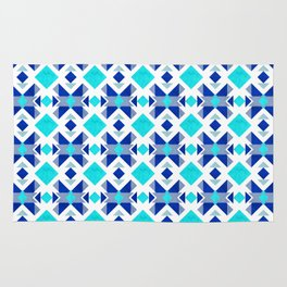Morrocan blue tiles with marble texture Rug