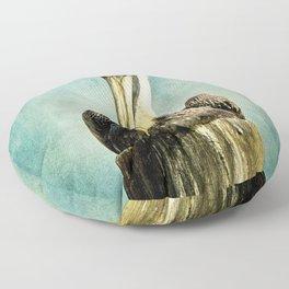 Brown Pelican Art Floor Pillow