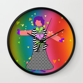 THE HEART LADY WEARING BLACK AND WHITE Wall Clock