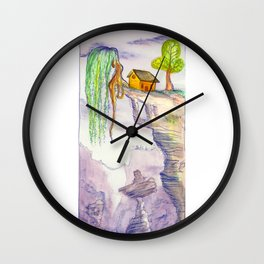 The Lonely Yellow House Wall Clock