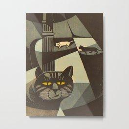 Inagaki Tomoo Vintage Japanese Woodblock print mid century Modern Cubism Art Cats Feline Metal Print