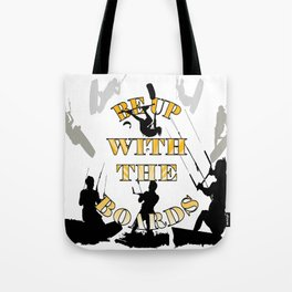 Be Up With The Boards Yellow Text And Kitesurfer Vector Tote Bag