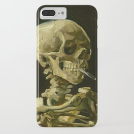 Skull of a Skeleton with Burning Cigarette Painting by Vincent van Gogh iPhone Case
