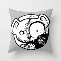 infamous Throw Pillows featuring Infamous Bear Logo by TobiasGebhardt