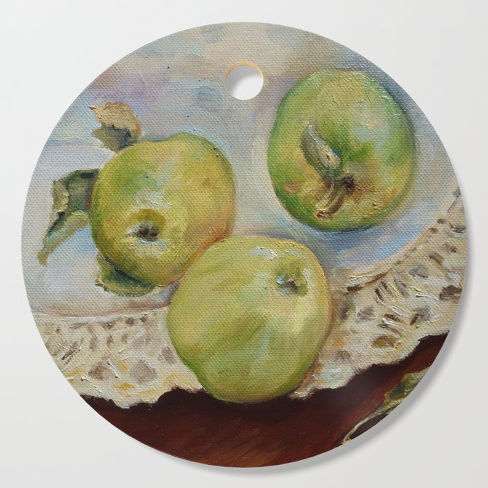GREEN APPLES Still life Classic painting Rustic style Kitchen decor Cutting  Board by canisart