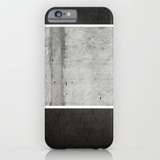 Raw Concrete and Black Leather iPhone 6 Slim Case