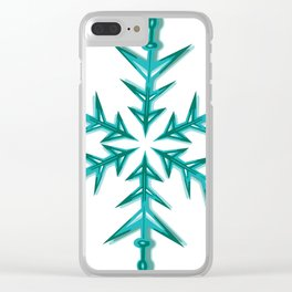 Minimalistic Aquamarine Snowflake Clear iPhone Case