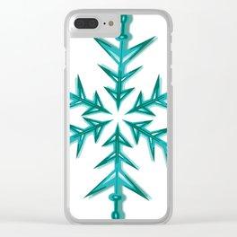 Minimalistic Aquamarine Snowflake Clear iPhone Case