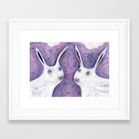 rabbits Framed Art Prints featuring Rabbits by annawadham