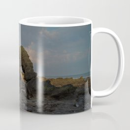 la mine france aerial drone shot cliff people sunset clouds goldenhour rock Coffee Mug