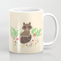 raccoon Mugs featuring Raccoon by Lynette Sherrard Illustration and Design