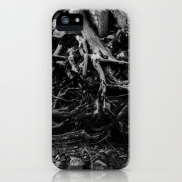 Black and White Tree Root Photography Print iPhone Case