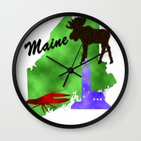maine Wall Clocks featuring Maine by Nova Jarvis