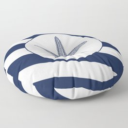 Nautical Starfish Navy Blue & White Stripes Beach Floor Pillow
