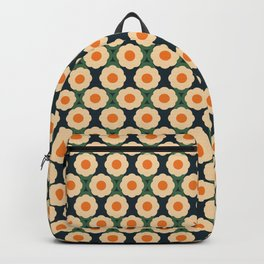 Abstract Retro Minimalist Floral Pattern in Light Yellow, Orange and Dark Green Backpack