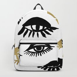 Abstract cute eyes illustration pattern.Cute hand drawn gold and black ink design elements, luxury, golden, sparkle, glitter background Backpack