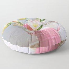 Coffee, Tea or Flowers Floor Pillow