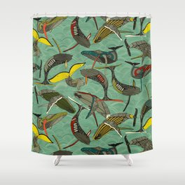 whales and waves jade Shower Curtain