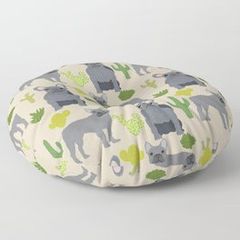 Frenchie french bulldog grey cactus desert southwest dog breed by pet friendly Floor Pillow