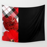 plaid Wall Tapestries featuring Plaid+, red by MehrFarbeimLeben